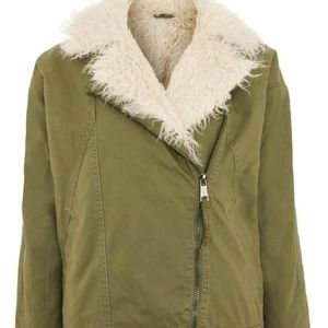 NWT TOPSHOP Jake Faux Fur Lined Jacket